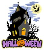 Halloween sign with haunted mansion Royalty Free Stock Images