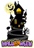 Halloween sign with house on hill Royalty Free Stock Photo
