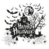 Halloween sign and icons for Halloween on a white Royalty Free Stock Photos