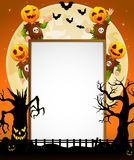 Halloween sign with kid wearing pumpkin mask Royalty Free Stock Image