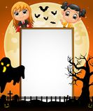 Halloween sign with little dracula,kid and black ghost Stock Images
