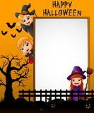 Halloween sign with little girl dracula and little boy witch waving hand and little girl witch while holding broomstick royalty free illustration