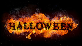 Halloween sign made of Fire flames Stock Image