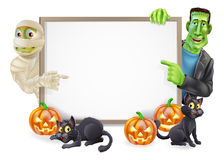 Halloween Sign with Mummy and Frankenstein Royalty Free Stock Photo