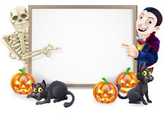 Halloween Sign with Skeleton and Dracula Royalty Free Stock Images