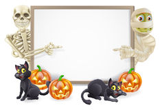 Halloween Sign with Skeleton and Mummy Stock Photos