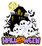 Halloween sign with three ghosts 1 Stock Photos