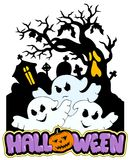 Halloween sign with three ghosts 2 Stock Photography