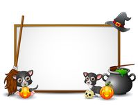 Halloween sign with witch hat, witch broom, cat, cauldron,and pumpkin Royalty Free Stock Image