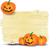 Halloween signboard with pumpkin Royalty Free Stock Image