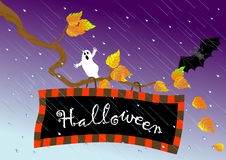 Halloween signboard. vector. Stock Photos
