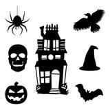Halloween-Silhouetpictogrammen Stock Fotografie