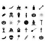 Halloween-Silhouetpictogrammen Royalty-vrije Stock Afbeelding