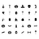 Halloween-Silhouetpictogrammen Royalty-vrije Stock Afbeeldingen
