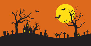 Halloween Silhouette. Illustration of Halloween silhouette background Royalty Free Stock Photo