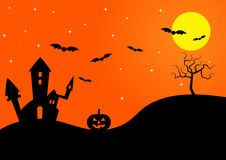 Halloween silhouette background  illustration Stock Image