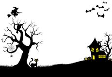 Halloween silhouette background Stock Photos