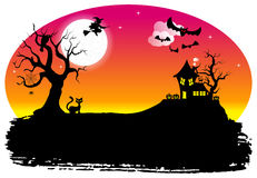 Halloween silhouette background Royalty Free Stock Photo