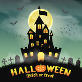 Halloween silhouette castle in a night graveyard Stock Photo