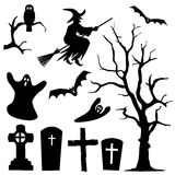 Halloween Silhouette Collection Set - Black Shapes. Owl, Witch, Ghost, Branch, Cross, Bat - Vector Illustration stock illustration
