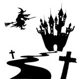 Halloween Silhouette Collection Set - Black Shapes. Vector Illustration - Witch, Cross, Castle stock illustration