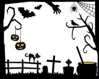 Halloween Silhouette Frame [2]. Silhouette Halloween horizontal frame,  on white background, with scary elements: bats flying, a raven, a black cat, a spider Stock Photo