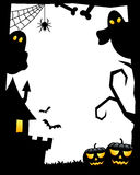 Halloween Silhouette Frame [1]. Silhouette Halloween vertical frame,  on white background, with scary elements: bats flying, ghosts, a haunted house, a spider Stock Images