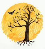 Halloween silhouette. Hand drawn Halloween image using pen and ink Royalty Free Stock Images