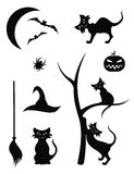 Halloween Silhouette Icons Stock Images