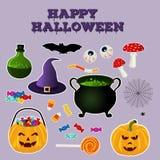 Halloween silhouette la collection d'objets relatifs de vacances Attributs traditionnels réglés de sorcières d'icône lumineuse Image stock