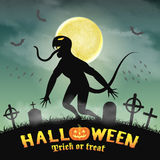 Halloween silhouette monster in a night graveyard Royalty Free Stock Photos