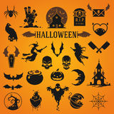 Halloween silhouette objects and icons. Collection vector illustration Stock Photography