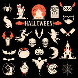 Halloween silhouette objects and icons. Collection vector illustration Royalty Free Stock Images