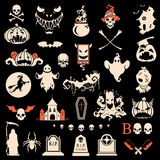 Halloween silhouette objects and icons. Collection vector illustration Royalty Free Stock Photos