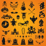 Halloween silhouette objects and icons Royalty Free Stock Images