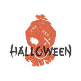 Halloween silhouette scarecrow head. Hand drawn vector illustration Stock Image