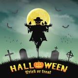 Halloween silhouette scarecrow in night graveyard Royalty Free Stock Photo