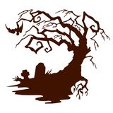 Halloween, silhouette Scary tree without leaves. Halloween, silhouette Scary tree without leaves, on white background.vector Royalty Free Stock Photos