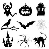 Halloween silhouette set. On white background Stock Photography