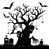 Halloween, Silhouette of a terrible bare tree without leaves in. The cemetery, on white background, vector Stock Photography