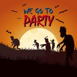 Halloween silhouette zombie. Colored poster in a dark style for Halloween party royalty free illustration