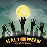 Halloween silhouette zombie hand in night graveyard Stock Photo