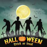 Halloween silhouette zombie in a night graveyard Royalty Free Stock Photo