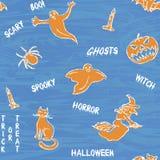 Halloween silhouetteert patroon met tekst Royalty-vrije Stock Afbeelding