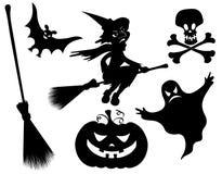 Halloween silhouettes. Black on the white Stock Image