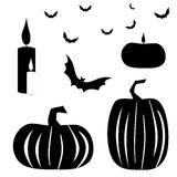 Halloween silhouettes. Silhouettes on a white background. Vector Illustration Stock Images
