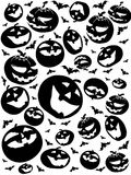 Halloween silhouettes, bats and pumpkins isolated on white Royalty Free Stock Photo