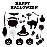 Halloween silhouettes collection of related holiday objects. Black icon set traditional witches attributes. Royalty Free Stock Photos