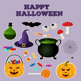 Halloween silhouettes collection of related holiday objects. Bright icon set traditional witches attributes. Stock Image