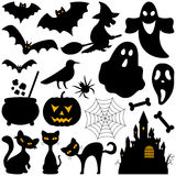 Halloween Silhouettes Elements. Collection of silhouette elements for Halloween, isolated on white background: bats, witch, ghosts, pumpkin, black cats, castle Royalty Free Stock Photos